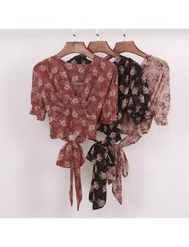 Floral Print Short Sleeve Chiffon Blouse by Knutsford