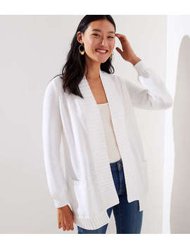 Ribbed Trim Open Pocket Cardigan by Loft