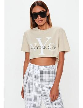 Sand Nyc Cropped T Shirt by Missguided