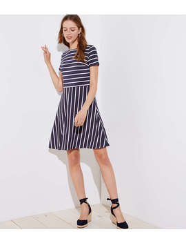 Striped Cutout Back Flare Dress by Loft