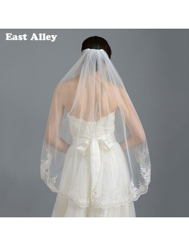 Ivory White Bridal Veil One Layer Lace Edge Fingertip Length Wedding Accessories Veil With Comb by East Alley