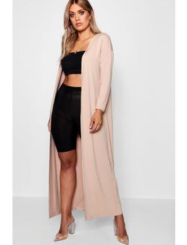 Plus Rib Longline Long Sleeve Cardigan by Boohoo