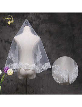 150 Wholesale  Wedding Accessorie Soft Tulle New Arrival White Veil Fingertip Wedding Bridal Veil Lace Edge Voile Mariage Vi3289 by Jeanne Love