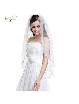 Beaded Edge Tulle Wedding Veils With Comb One Layer Tulle White Ivory Bridal Veil Simple Short Bride Wedding Accessories  by Tangfuti