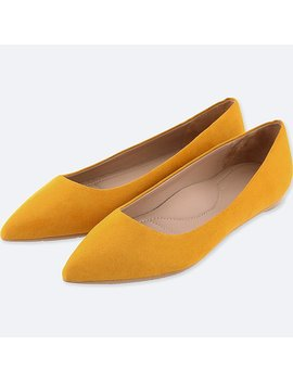 Women Pointed Faux Suede Flat Shoes by Uniqlo