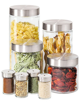 Canisters & Spice Jars, Glass 8 Piece Set by Oggi