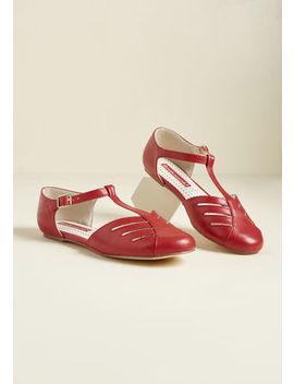 B.A.I.T. Footwear Arrow Margin T Strap Flat In Red by B.A.I.T. Footwear