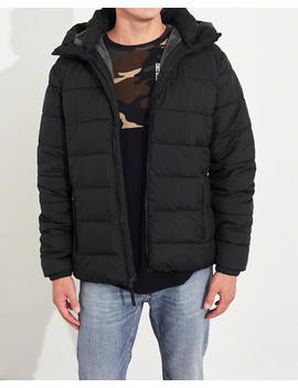 Faux Fur Lined Hooded Puffer Jacket by Hollister