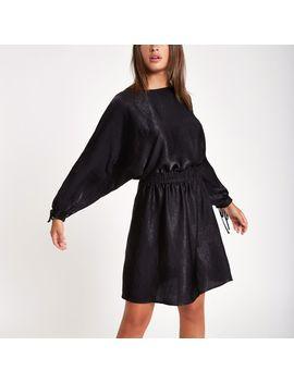 Black Shirred Waist Mini Dress by River Island