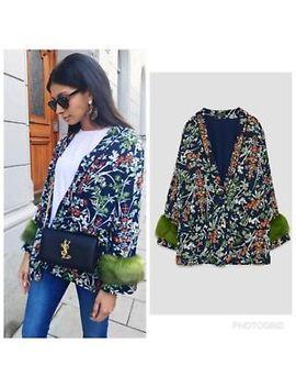 Zara New Aw17 Kimono Coat Fur Cuffs Size S M by Ebay Seller