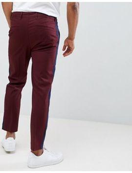 Asos Design Skinny Crop Smart Trouser With Navy Side Stripe by Asos Design