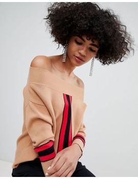 River Island Off The Shoulder Sweater With Color Block Detail In Multi by River Island