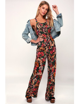 Still Here Black Floral Print Overalls by Lulu's