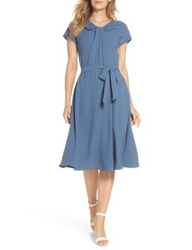 Vivian Twist Neck Fit & Flare Dress by Gal Meets Glam Collection