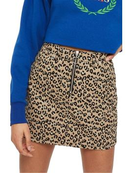 Half Zip Leopard Print Denim Skirt by Topshop