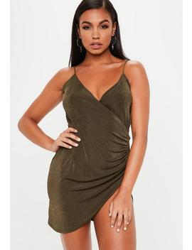 Gold Wrap Front Slinky Bodycon Dress by Missguided