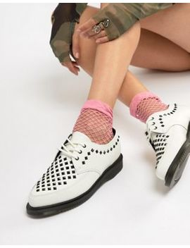 Dr Martens Willis White Leather Studded Flat Shoes by Dr Martens