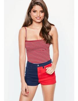 Red Stripe Straight Neck Bodysuit by Missguided