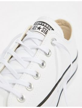 Converse Chuck Taylor All Star Leather Platform Low Trainers In White by Converse