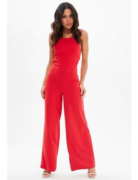 Red Strappy Back Wide Leg Jumpsuit by Missguided