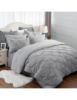 "Bedsure 8 Piece Comforter Set Full Queen Size (88""X88"") Solid Grey Pinch Pleat Down Alternative Bed In A Bag (Comforter,2 Pillowshams, Flat Sheet, Fitted Sheet, Bed Skirt,2 Pillowcases) by Bedsure"