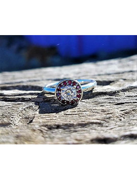 Vintage Engagement Ring .78ct Diamond Ruby Engagement Ring Art Deco Engagement Ring Unique Engagement Ring Antique Engagement 14k White Gold by Etsy