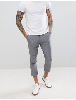 Boohoo Man Cropped Pinstripe Trousers In Grey by Boohoo Man
