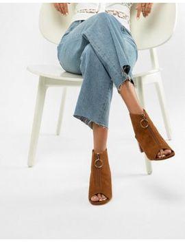 Miss Selfridge Zip Front Block Heel Shoe by Miss Selfridge
