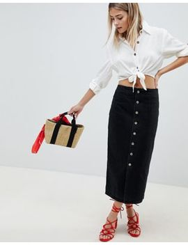 Asos Design Denim Midi Skirt With Buttons In Black by Asos Design