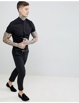 Asos Design Skinny Fit Shirt With Lace Trim And Grandad Collar by Asos Design