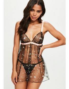 Black Contrasting Star Mesh Negligee by Missguided