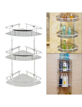 3 Tier Adjustable Telescopic Bathroom Corner Shower Shelf Rack Caddy Organiser by Ebay Seller