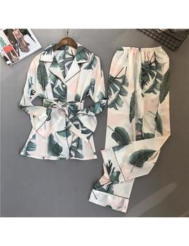 2018 New  Silk Pijama Suit Women Two Piece Set Woman Pyjama 8446 by Flame Of Dream