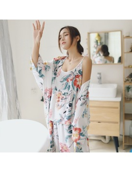Ladies Nightwear 3pcs 2018 New  Pajama Sets For Women Home Wear Woman Pyjama Roupa De Dormir Feminina 1373 by Flame Of Dream
