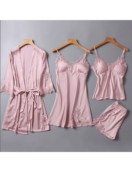 4pcs One Lot Pajama Sets For Women Womens Pyjamas Sleepwear Pijama Seda 1180 by Flame Of Dream