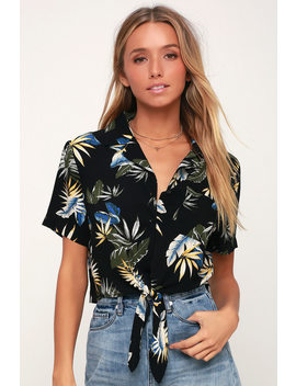 Tropical Twist Black Tropical Print Tie Front Crop Top by Lulu's