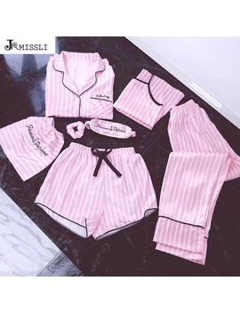 Jrmissli Brand Women's 7 Pieces Pink Pajamas Sets Satin Silk Lingerie Homewear Sleepwear Pyjamas Set Pijamas For Woman by Jrmissli