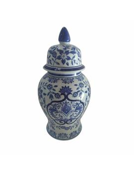 Benzara Traditional Ceramic Covered Temple Jar Decorative, Blue/White by Benzara