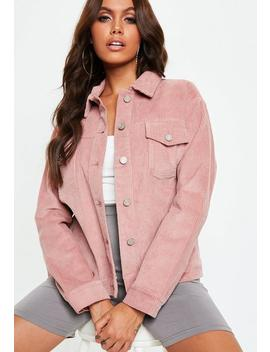 Blush Pink Cord Trucker Jacket by Missguided