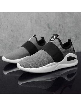 Men Mesh Fabric Elastic Slip On Sport Running Walking Sneakers by Newchic