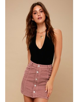 Push My Buttons Mauve Corduroy Mini Skirt by Lulu's