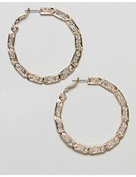 Asos Design Hoop Earrings With Vintage Style Twist Design In Gold by Asos Design