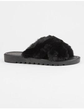 Qupid Faux Fur Criss Cross Black Womens Slide Sandals by Qupid
