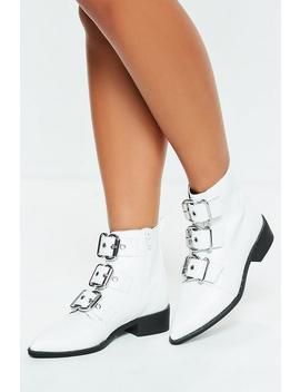 White Three Buckle Pointed Biker Boots by Missguided