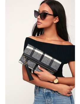 Rockwell Black Plaid Clutch by Lulu's