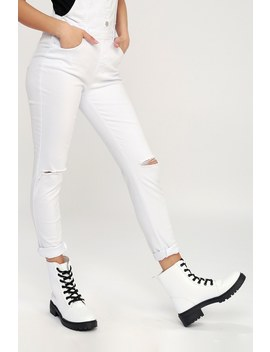 Effy White Lace Up Combat Boots by Lulu's