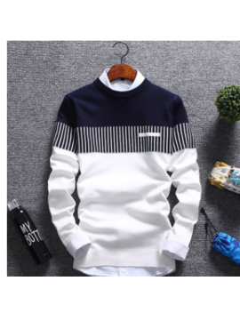 New Men 's 2018 Men' S Double Color Knit Shirt Sleeve Cultivate One 's Morality Round Collar Teenagers Striped Sweater by Boussac