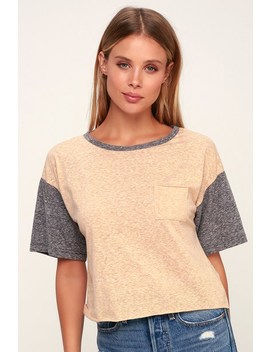 Kelso Heathered Beige Cropped Raglan Tee by Lulu's
