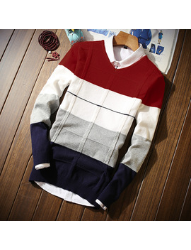 2018 Men's Long Sleeved Sweaters V Neck S M 2 Xl 3 Xl Blue Wine Red Fashion Casual Men Sweater Slim Comfortable Elegance Clothing by Left Rom