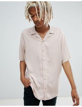 Asos Design Oversized Viscose Batwing Sleeve Shirt In Pink by Asos Design